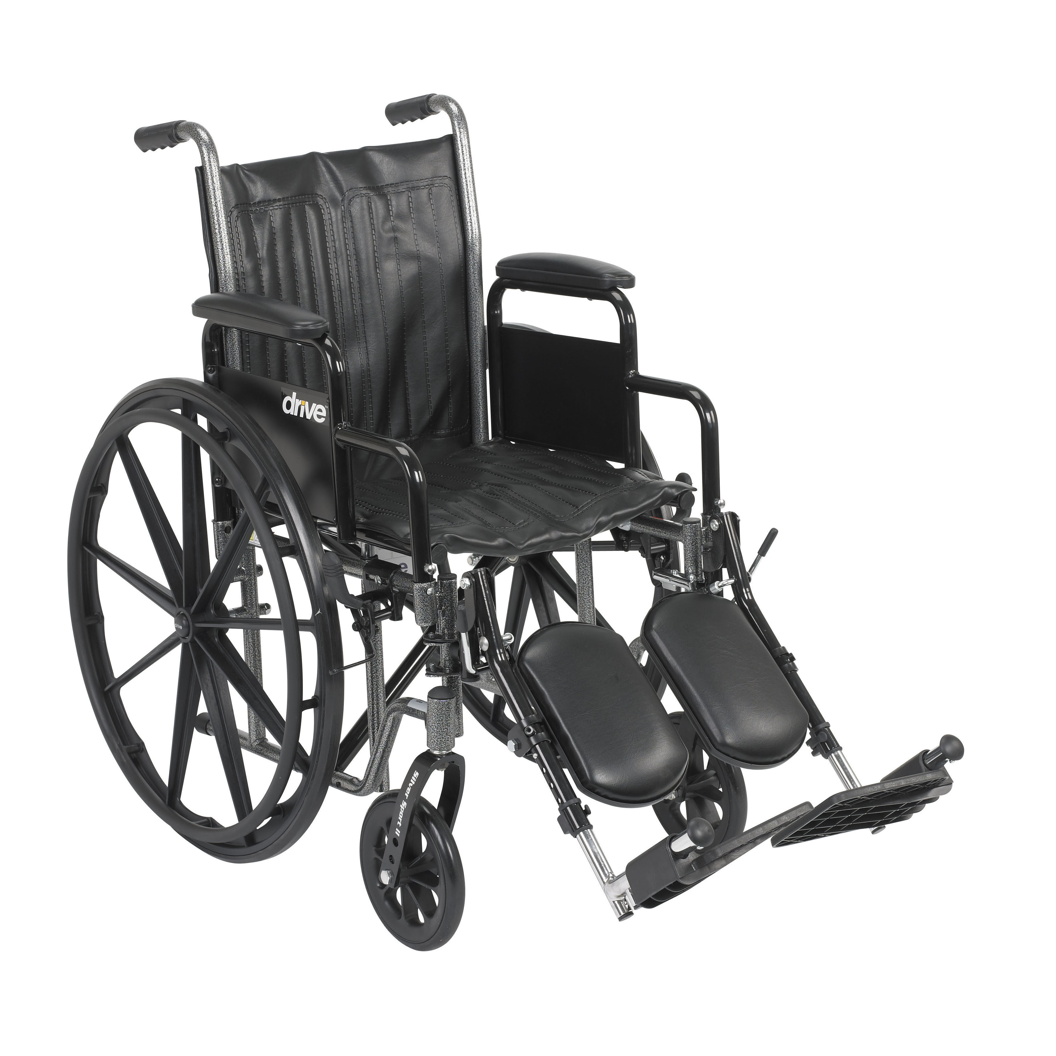 """Drive Medical Silver Sport 2 Wheelchair, Detachable Desk Arms, Elevating Leg Rests, 18"""" Seat"""