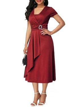 41a3ca058dc Product Image Plus Size Women Summer Short Sleeve Loose Plain Casual Tunic  Oversized Wrap Asymmetrical Ruffled Dress S