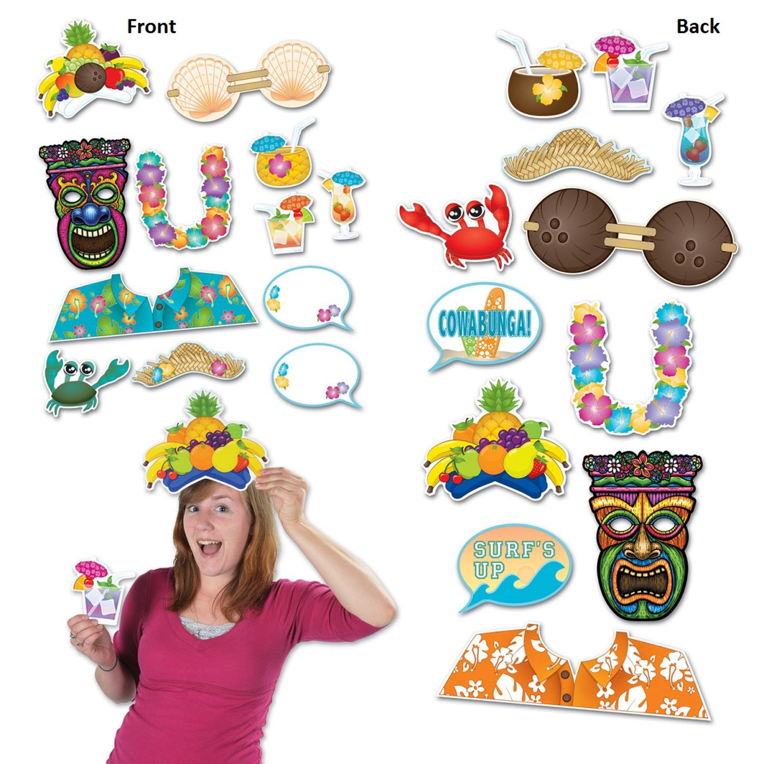 Club Pack of 144 Multi-Colored Tropical Hawaiian Luau Photo Fun Sign Party Decorations 18.25""