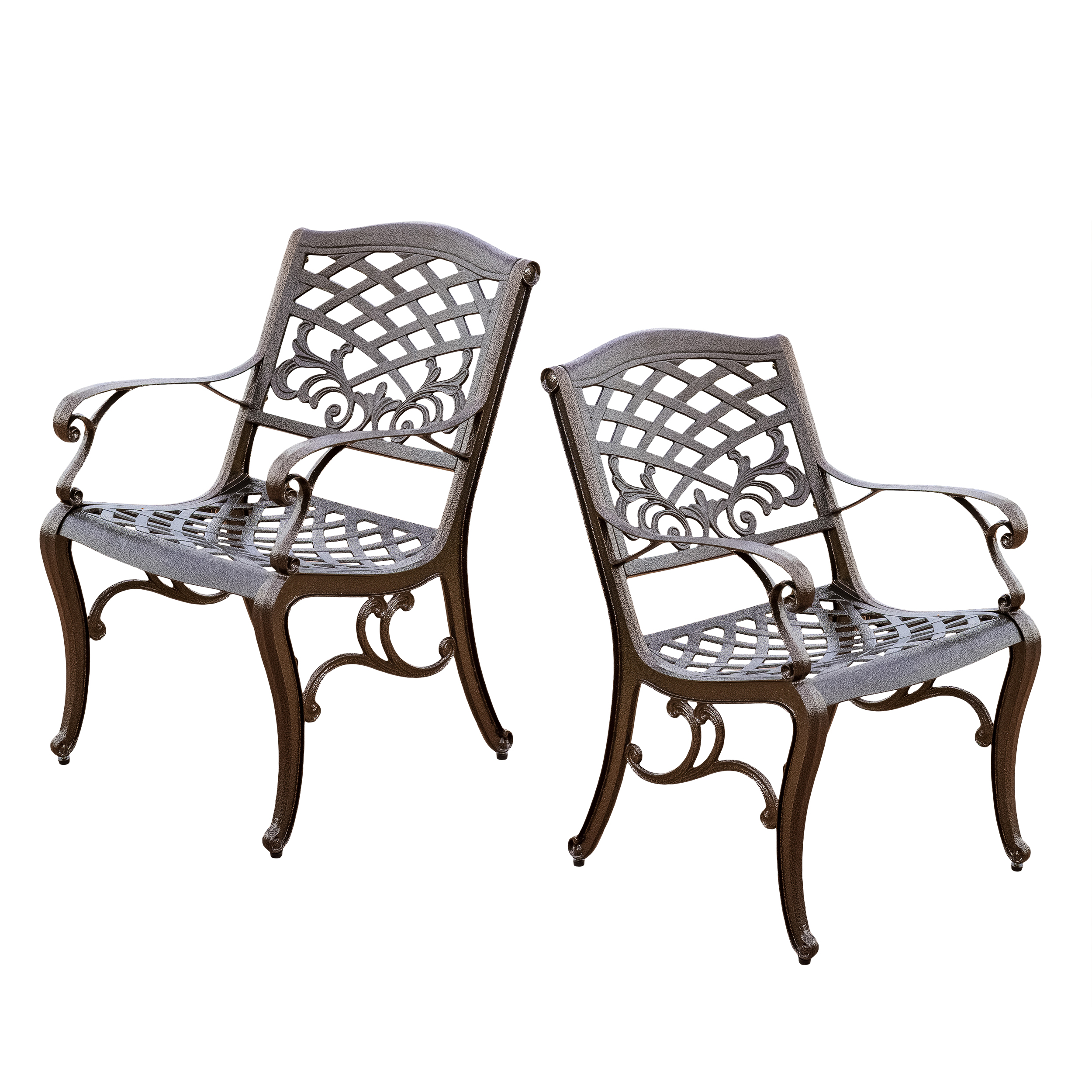 Noble House Cast Aluminum Bronze Outdoor Chair (Set Of 2)