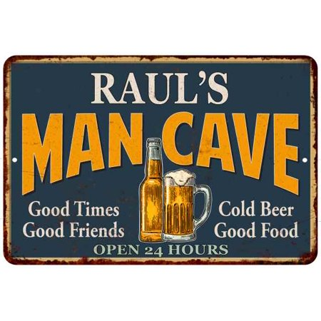 Raul S Man Cave Personalized Metal Sign Green Gift 8x12 208120012214