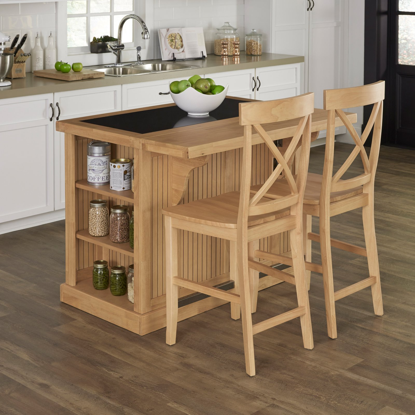 Home Styles Nantucket Natural Kitchen Island with Granite...