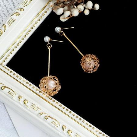 Korean Wound Wire Ball Ear Studs Ear Nails Alloy Earrings Women Fine Jewelry - image 3 de 4