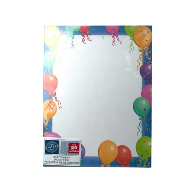 Kole Imports OP894-72 Balloon Border Stationery Paper , 25 Sheets - Pack of 72 - image 1 de 1