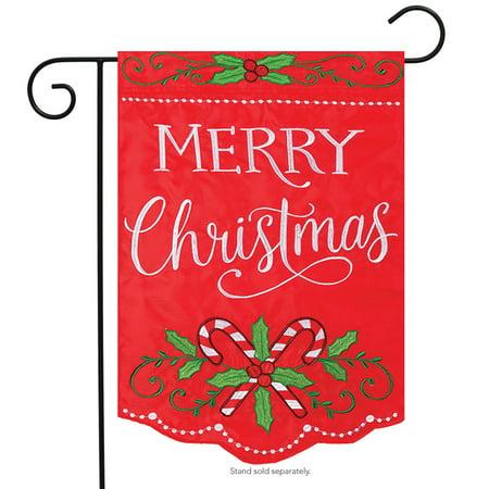 Christmas Canes Applique Garden Flag Embroidered Merry Holiday 2 Sided (Applique Embroidered Flag)