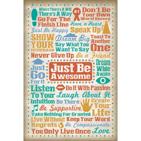 Just Be Awesome Motivational Art Print Poster   12X18