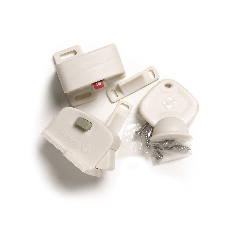 Magnetic Cabinet Locks, 2 Locks + 1 Key, USA, Brand Safety 1st by Safety 1st