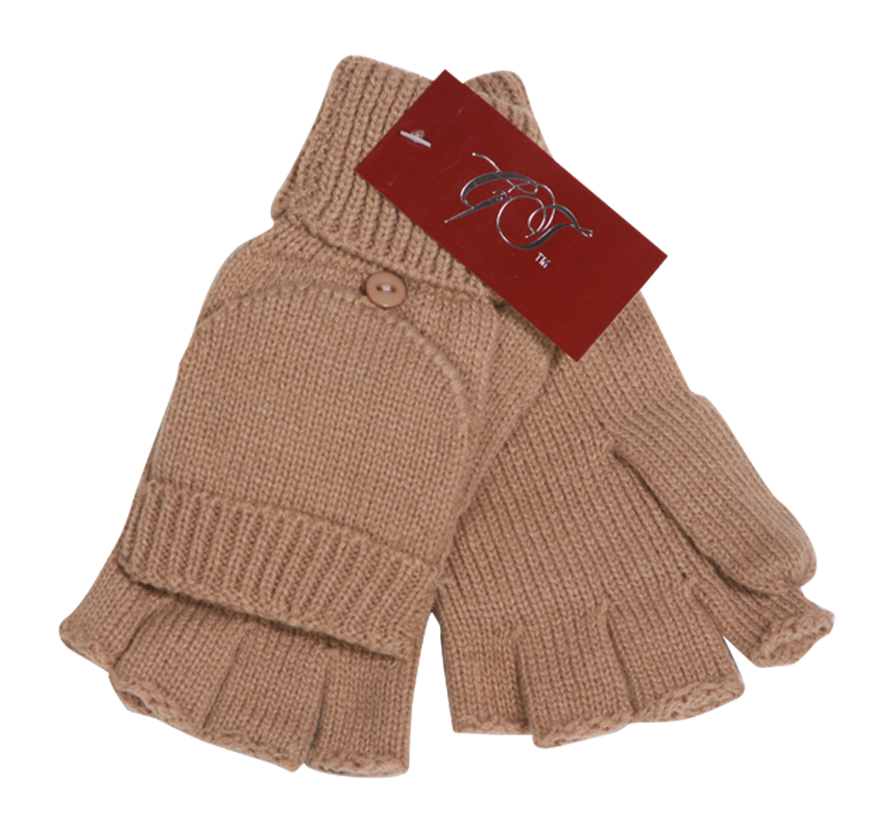 Winter Fingerless Flap Knit Mitten Gloves - Khaki ( 2 pack )