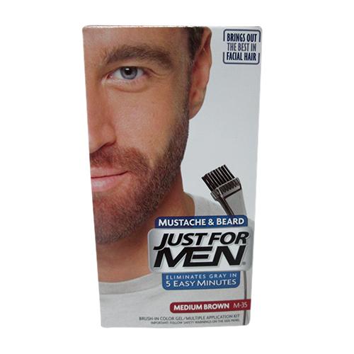 Just For Men Brush-In Mustache, Beard And Sideburns, Medium Brown, Kit