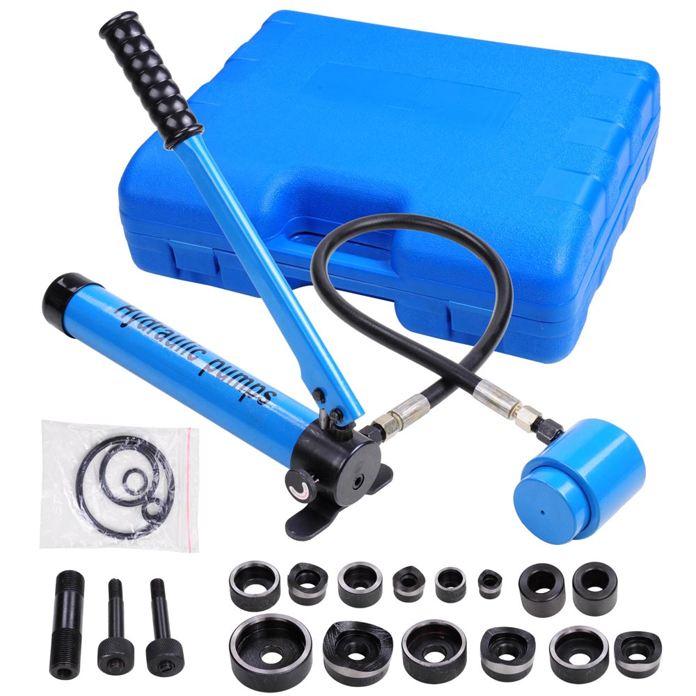Yescom 9 Ton 6 Dies Hydraulic Knockout Punch Driver Kit Hand Pump Hole Tool with Carrying Case Blue