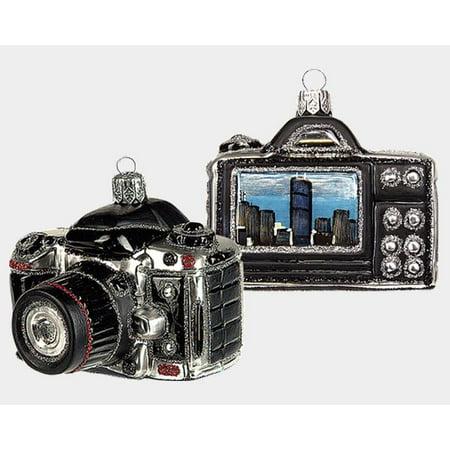 Digital Camera with Chicago Scene Polish Glass Christmas Ornament Decoration (Christmas Scenes Decorations)
