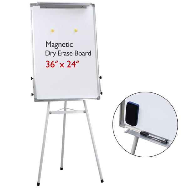 """Yaheetech 36"""" x 24"""" Telescopic Magnetic White Board Dry Erase Board Tripod Whiteboard Flipchart Easel Lightweight Office/Home/School Use(Pls Remove The Clear Protective Film Before Using)"""