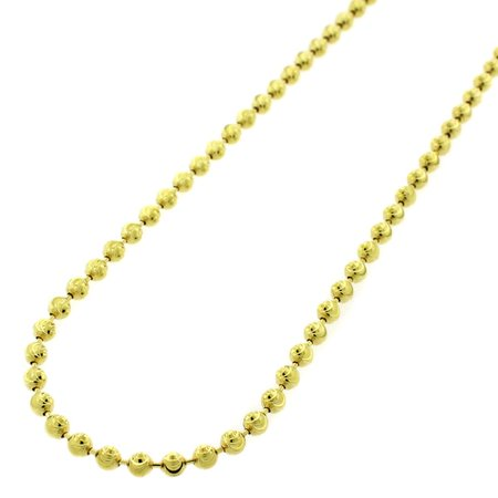 925 Silver Bead Necklace (.925 Sterling Silver 3mm Moon Cut Bead Pendant Chain Necklace Yellow Gold Plated 16