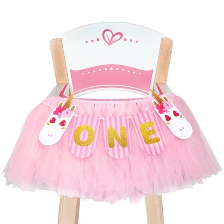 1st Birthday Decorations With Unicorn Banner Baby Tutu Skirt High Chair For Party Supplies