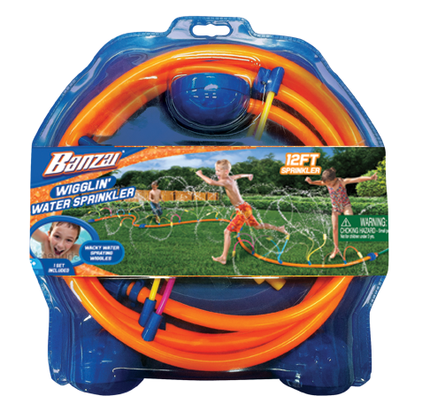 Banzai Wigglin Sprinkler 12 Foot Long Backyard Outdoor