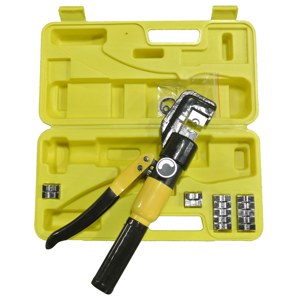 Zimtown 10 Ton Hexagonal Hydraulic Crimper,Wire Battery Cable Lug Terminal Crimping Tool with 9 Dies
