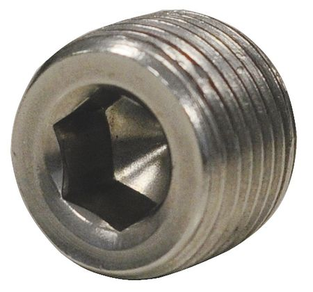 "Value Brand 1/8"" MNPT SS Hex Socket Plug, 4WPK2"