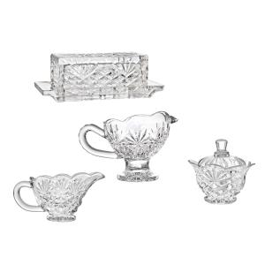 4-Piece Shannon Hostess Non-Leaded Crystal Serving Set with Butter Dish, Gravy Boat, Sugar Bowl & Creamer by Godinger Silver Art