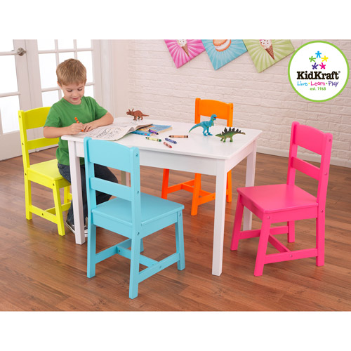 KidKraft Highlighter Kids 5 Piece Table and Chair Set Walmartcom