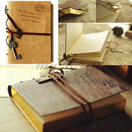 Classic Retro Vintage Leather Bound Blank Pages Notebook Note Journal Journal Notebook, Leather Writing Sketchbook Vintage Daily Notepad School Season Discount (Leather Bound Notebook)
