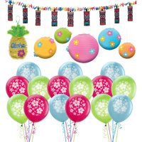 Party City Hibiscus Hawaiian Party Decorations, Includes Balloons, Tiki Flower Garland and Tinsel Pineapple