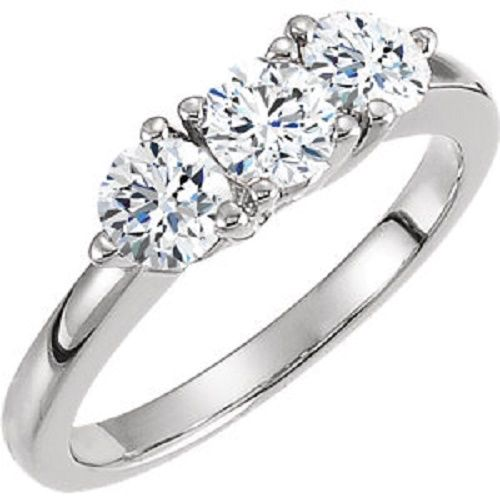 Platinum 1.35ct Round Cut Diamond Anniversary Wedding Band, Size 6, Prong Set, 0.45 ct each by