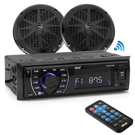 "PYLE PLMRKT46BK - Bluetooth Marine Receiver Stereo & Speaker Kit, Hands-Free Calling, Wireless Streaming, MP3/USB/SD Readers, AM/FM Radio, (2) 5.25"" Waterproof Speakers"