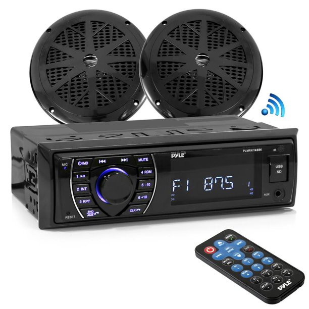 "PYLE PLMRKT46BK - Bluetooth Marine Receiver Stereo & Speaker Kit, Hands-Free Calling, Wireless Streaming, MP3/USB/SD Readers, AM/FM Radio, (2) 5.25"" Waterproof Speakers (Black)"
