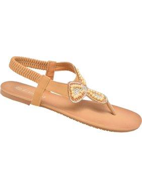 a0681a579beb2 Lucita Adult Tan Glitter Rhinestone Clover Flip Flop Sandals