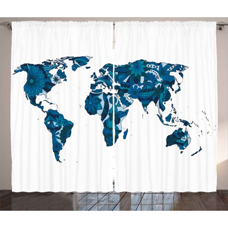 world map curtains 2 panels set lilac flowers covered earth continents unusual eco plants globe display