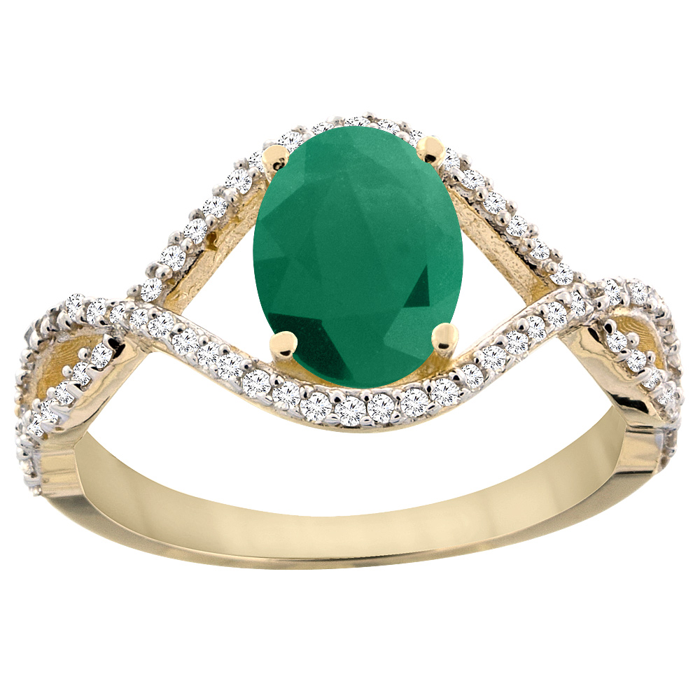 14K Yellow Gold Natural HQ Emerald Ring Oval 8x6 mm Infin...