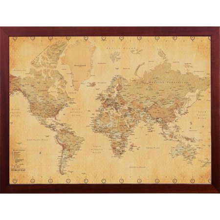 Mounted World Map.Framed Vintage World Map 24x36 Dry Mounted In Real Wood Walnut Brown