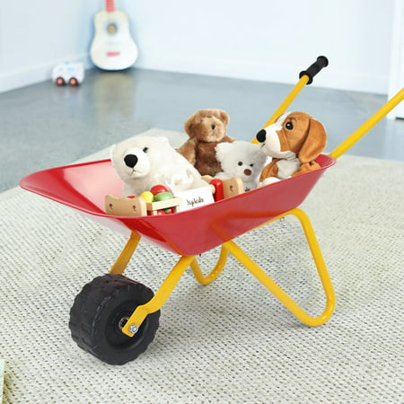 Gymax Kids Metal Wheelbarrow Children's Size Ourdoor Garden Backyard Play Toy