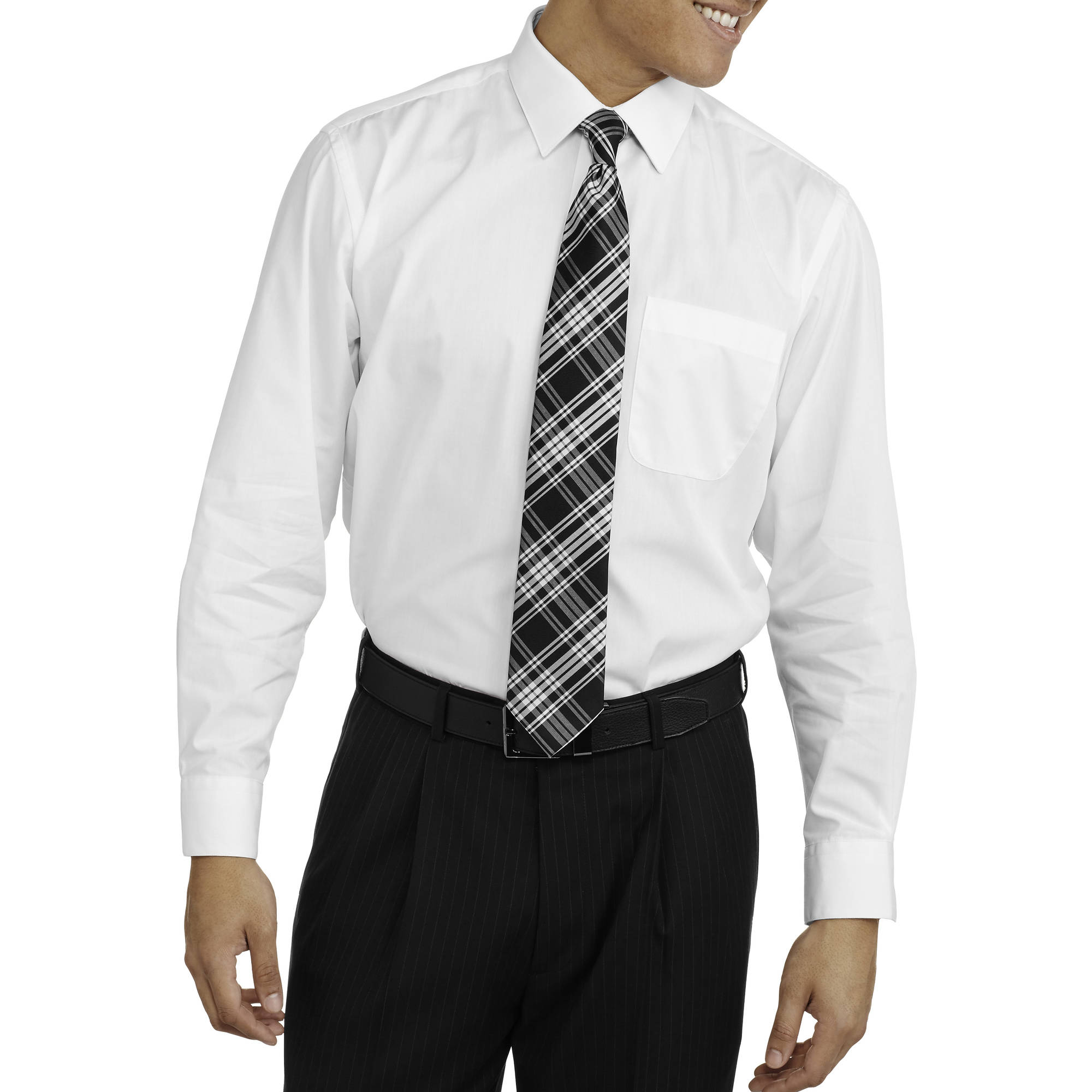 Men's Packaged Long Sleeve Dress Shirt and Tie Set
