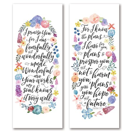 Lovely Watercolor-Style Bible Verse Jeremiah 29:11 and Psalm 139:14 Floral Set by Noonday Designs; Floral Decor; Two 8x20in Unframed Paper -