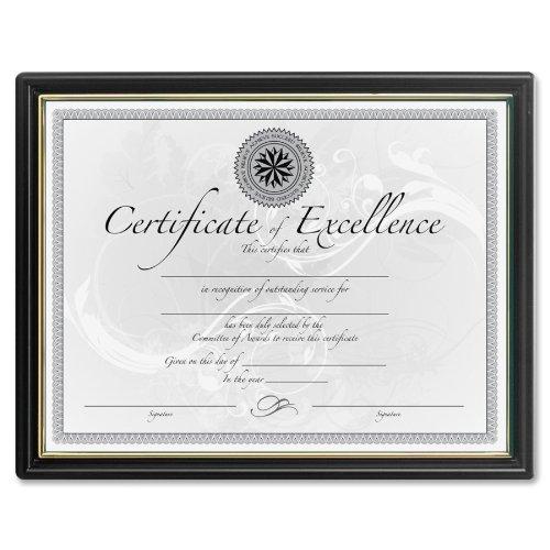 "Dax Black & Gold Certificate Frames - 8.50"" X 11"" Insert - Plastic - Black (N118818T)"