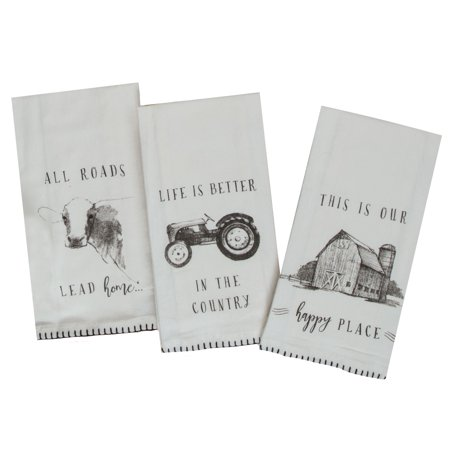 Farmers Market Cow Tractor Barn Flour Sack Kitchen Printed Dish Towels Set of 3 (Cow Kitchen Towels)