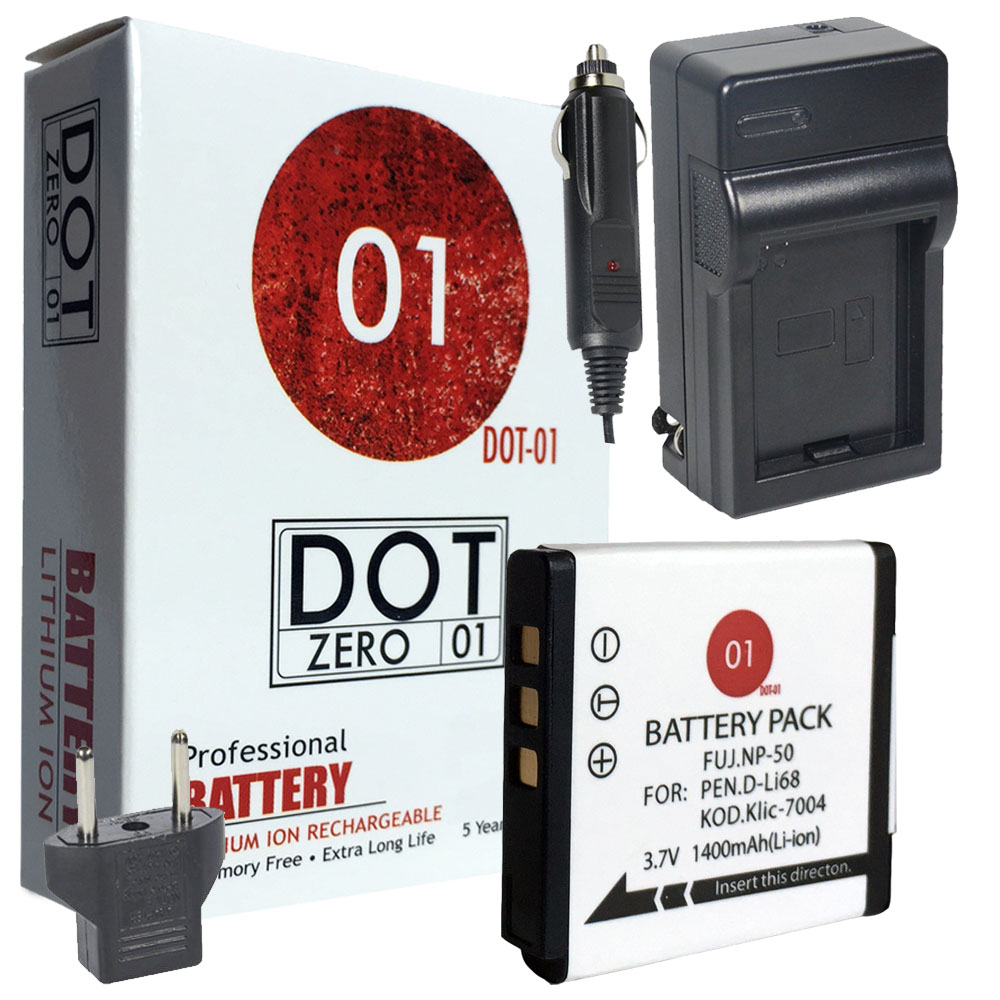 DOT-01 Brand 1400 mAh Replacement Kodak KLIC-7004 Battery and Charger for Kodak V1253 Digital Camera and Kodak KLIC7004
