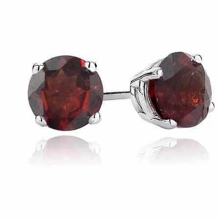 2 Carat T.G.W. Garnet Sterling Silver 6mm Stud Earrings