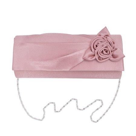Premium Rose Floral Pleated Satin Flap Clutch Evening Bag