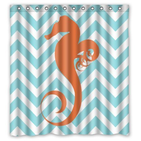 HelloDecor Seahorse Teal And White Nautical Chevron Shower Curtain Polyester Fabric Bathroom Decorative Size 66x72 Inches