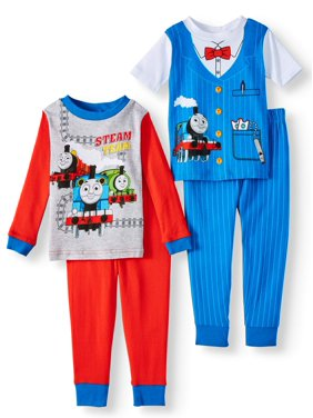 Thomas & Friends Thomas the Train Baby Toddler Boy Short & Long Sleeve Top With Pants, 4-Piece Pajama Set