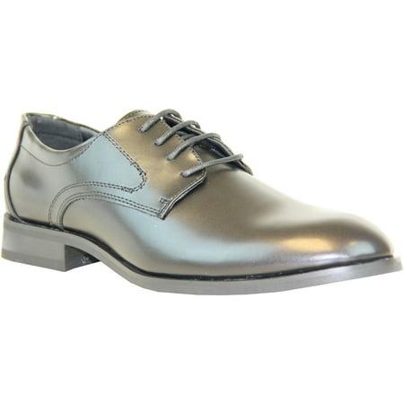 VANGELO Men Tuxedo TAB Dress Shoe for Formal Event and School Uniform Wrinke Free Material Black