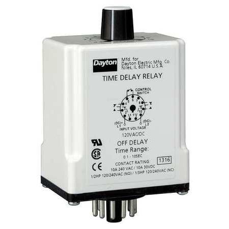 DAYTON 24EN80 Time Delay Relay,12VDC,10A,DPDT,0.1