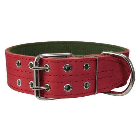 Genuine Leather Dog Collar Padded Red 1 5 Quot Wide Fits 18