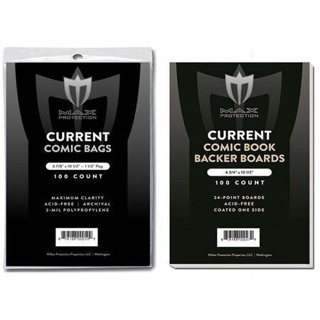 (100) Current Size Ultra Clear Comic Book Bags and Boards - by Max Pro (Qty= 100 Bags and 100 Boards) (Comic Book Plastic Bags)