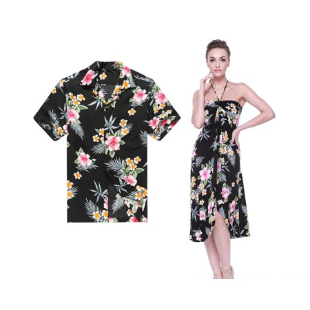 Couple Matching Hawaiian Luau Cruise Party Outfit Shirt Dress in Hibiscus Black Men XL Women - Homecoming Couples Outfits