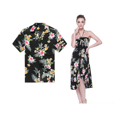 Hawaiian Dresses Shirts (Couple Matching Hawaiian Luau Cruise Party Outfit Shirt Dress in Hibiscus Black Men XL Women)