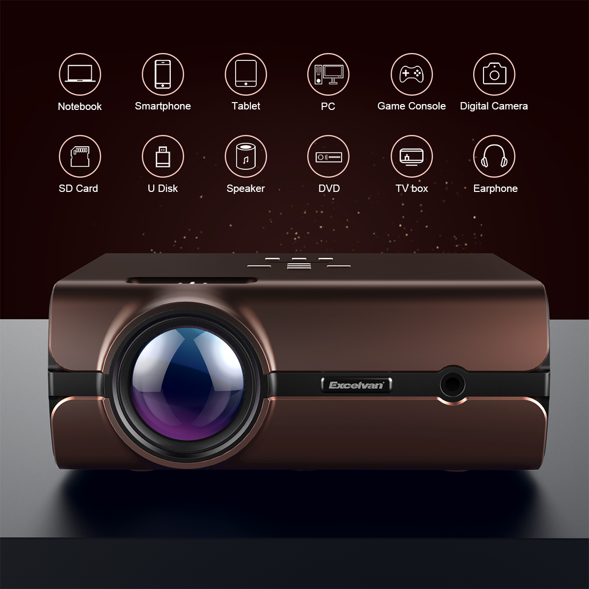 Excelvan BL46 Android 6.0 Multimedia LCD Projector 1G RAM 8G ROM Support Bluetooth 4.0 1080P Wireless Connection With Smartphone Tablet Many Interfaces USB VGA SD HDMI For PC Laptop Game Console DVD
