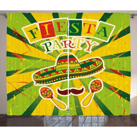 Fiesta Curtains 2 Panels Set, Sprites with Sombrero Maracas Mustache Mexican Hand Drawn Illustration, Window Drapes for Living Room Bedroom, 108W X 90L Inches, Green Yellow Vermilion, by Ambesonne